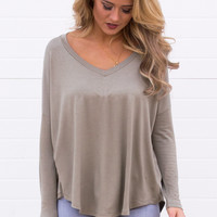 Jana Long Sleeve V-Neck Top - Sage