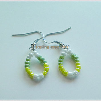 Green Yellow & White Native American Beadwork Seed Beaded Hoop Earrings