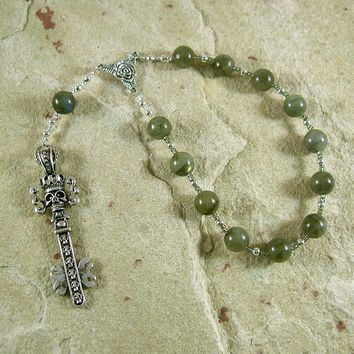 Hades Pocket Prayer Beads in Labradorite: Greek God of Death and the Afterlife