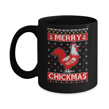Merry Chickmas Farmer Chicken Ugly Christmas Sweater Mug
