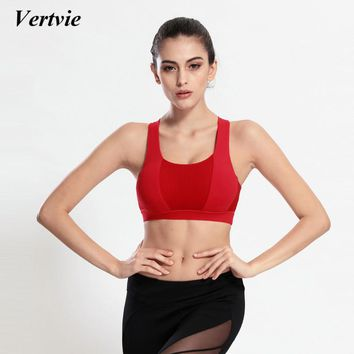 Vertvie Fitness Sports Bra Straps Yoga Top Bra Women Brassiere Shirts Sport Push Up Workout Athletic Top Ultimate Sports Gym Bra