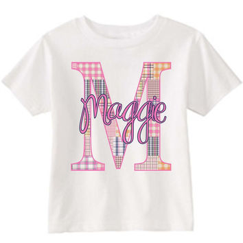 Girl's Madras Initial on Personalized White T-Shirt