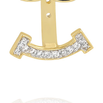 Alison Lou - Joe Cool 14-karat gold, enamel and diamond earring