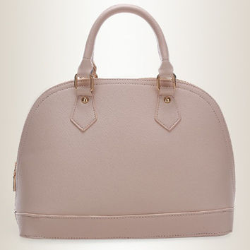 Light Pink Faux Leather Work Handbag for Office Lady