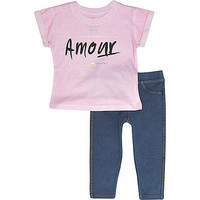 River Island Mini girls pink t-shirt and legging outfit