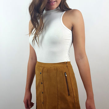 Micro Suede Skirt - Camel
