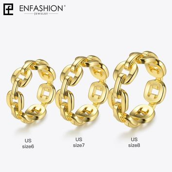 Enfashion Pure Form Link Chain Ring Men Gold Color Ladies Rings For Women Fashion Jewelry Bague Femme Homme Ringen RF184006