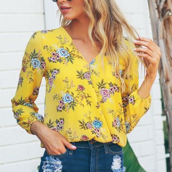 Long Sleeve Floral Top Yellow