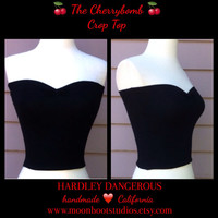 Black Cherrybomb Crop Top, Sexy ROCKABILLY Cropped Top, 1950s Style Pin up Shirt, Sweetheart Neckline Top, Handmade to Order