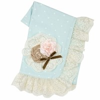 Haute Baby Polka Dot Floral Baby Blanket PREORDER