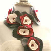 Grey Red Ivory Scarflette. Edgy Collar Feminine Ruffle Rose Rosette, Christmas Party, Ruby Gray Beige Charcoal, Floral Youthful Preppy Fun