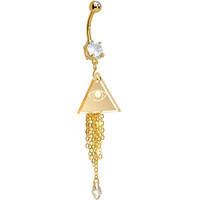 Handcrafted Clear CZ Gold Plated All Seeing Eye Pyramid Belly Ring | Body Candy Body Jewelry