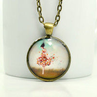 Girl With Flowers Necklace, Resin Jewelry, Antiqued Brass Chain Necklace, Vintage Look Pendant
