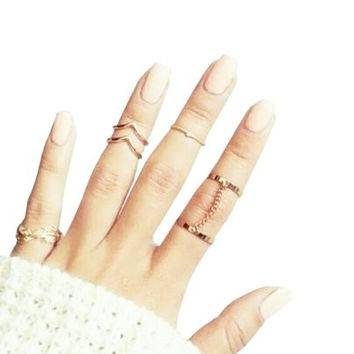 Blank K 5pcs Finger Tips Nail Ring Midi Ring Set Links Jewelry Set (Golden)