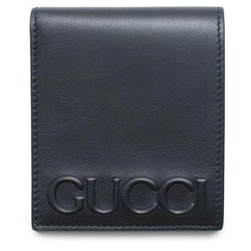 DCCKUG3 Gucci XL Embossed Black Wallet Bifold Leather Mens Gift Xmas Italy New Box