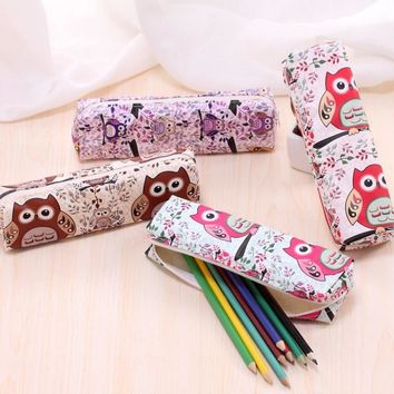 Novelty Owl PU leather pencil case for girls Kawaii kitty pen bag stationery pouch Korean stationery school office supplies