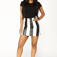 Trendy Chick Faux Leather Skirt - Black/White