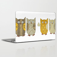 4 Gold Owls Laptop & iPad Skin by Erin Brie Art