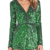 Green Sequin Plunge Long Sleeve Romper Playsuit