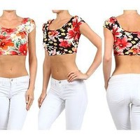 Sexy Floral Print Cap Sleeve Scoop Neck Low Back Cropped Tee Shirt Top Tight