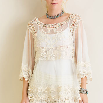 Cream Sheer Crochet Lace Mesh Blouse