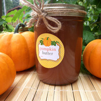 Pumpkin Butter Canning jar labels, 2 inch round stickers for mason jars for vegetable preservation, regular or wide mouth available