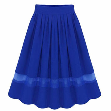 Skirts Women 2017 Summer Style Vintage Pleated Skirt Chiffon Organza Patchwork Hollow Out Elastic Waist Midi Skirt Solid Saia