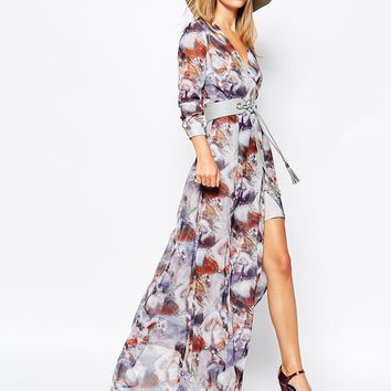 Lost Ink Horse Print Maxi Dress with Lace Up Belt