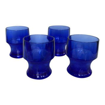 Vintage Cobalt Blue Depression Glasses