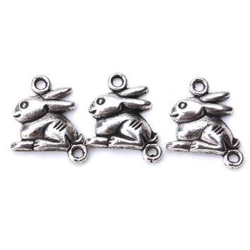 10pcs/lot 15mm x 13mm Bunny Charms Antique Silver Tone for diy charms necklace pendant jewelry accessories findings