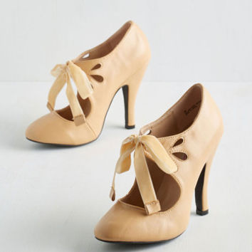 ModCloth Darling Tea on the Train Heel in Biscotti