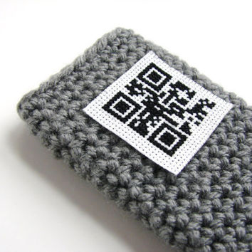 Case iPod Touch Gray Sleeve iPhone Crochet Cover w/ QR Code Message by MyHobbyShop