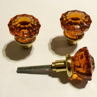 SALE! Astoria Crystal Door Knobs- Amber Color Is Burned into Crystal. The Knob Stem Is Solid Brass.
