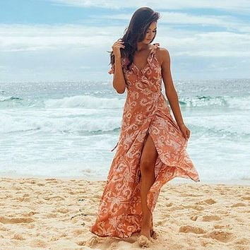 Off Shoulder Sexy Boho Floral Print Dress Women Ruffles Beach Deep V Neck Maxi Long Split Dresses
