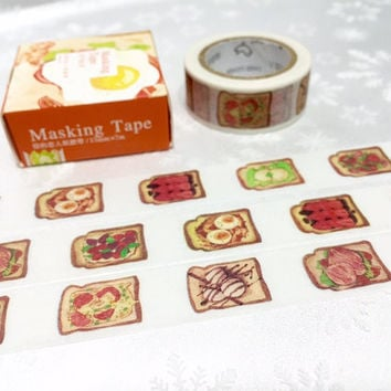 Toast Gourmet Washi tape 10m yummy Food toast bread washi masking tape light food sticker kitchen dinner cooking planner sticker tape
