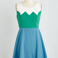 ModCloth Colorblocking Short Length Sleeveless A-line Aglow and Behold Dress in Teal