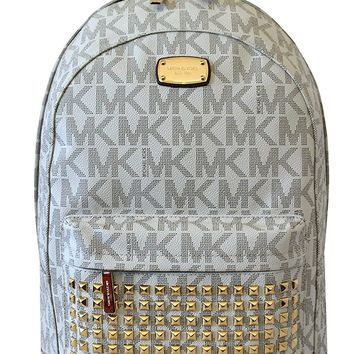 MICHAEL Michael Kors Large PRINTED MK STUDDED Jet Set Item Backpack VANILLA
