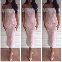Strapless Lace Bodycon Midi Dress