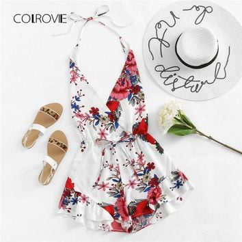 COLROVIE Ladies Floral V Neck Loose Fitting Mid Waist Backless Romper