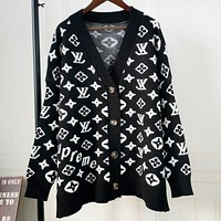 LV X Supreme Popular Women Casual Knit Coat Jacket Cardigan Sweatshirt Black I12240-1