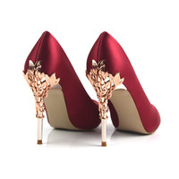 New 10cm Metal Sleeves High Heels Silk Special PU Leather Women Pumps  Shallow Sexy Party Woman Shoes  Size 34-39