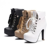 2015 Women Platform High Heels Lace Up Ankle Boots Plus Size 35-43 = 1946320708