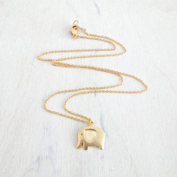 Gold Elephant Necklace, Dainty Gold Elephant with Heart, Delicate Fine Gold Chain, Simple Modern Necklace