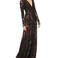 Elie Saab Sheer Sequin Gown, Black