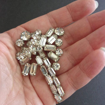 Art Deco Clear Rhinestone Brooch Baguettes Round Marquis Cuts Vintage