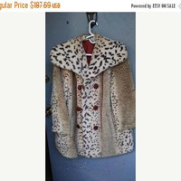 Now On Sale Vintage Leopard Faux Fur Jacket, Old Hollywood Glamour, 1950's 1960's Women's Coat, Mad Men Mod, Rockabilly Pin Up Coat