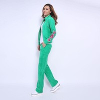 Juicy Couture Fw2017 Velour Tracksuit 2pcs Rose Embroidery Women Suits Green