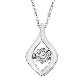 Dancing Love Diamond Accent Sterling Silver Marquise Pendant Necklace (White)