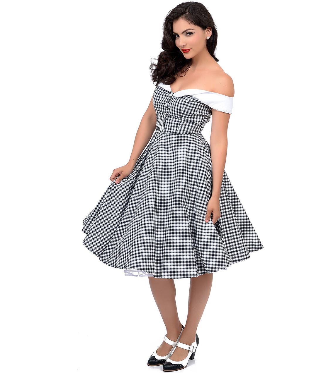 5a60d7145aca Hell Bunny 1950s Style Black   White Gingham Off Shoulder Mary Ann Swing  Dress