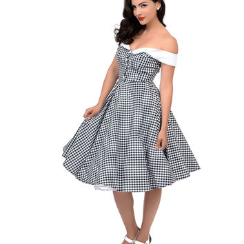 Hell Bunny 1950s Style Black & White Gingham Off Shoulder Mary Ann Swing Dress